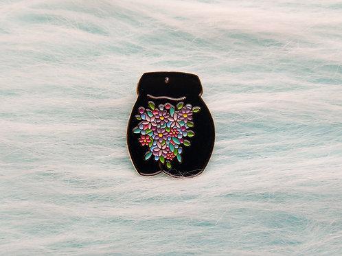 Flower crotch enamel pin