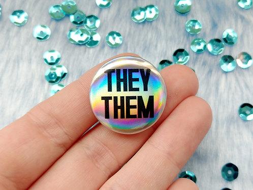 They them holographic pronoun badge