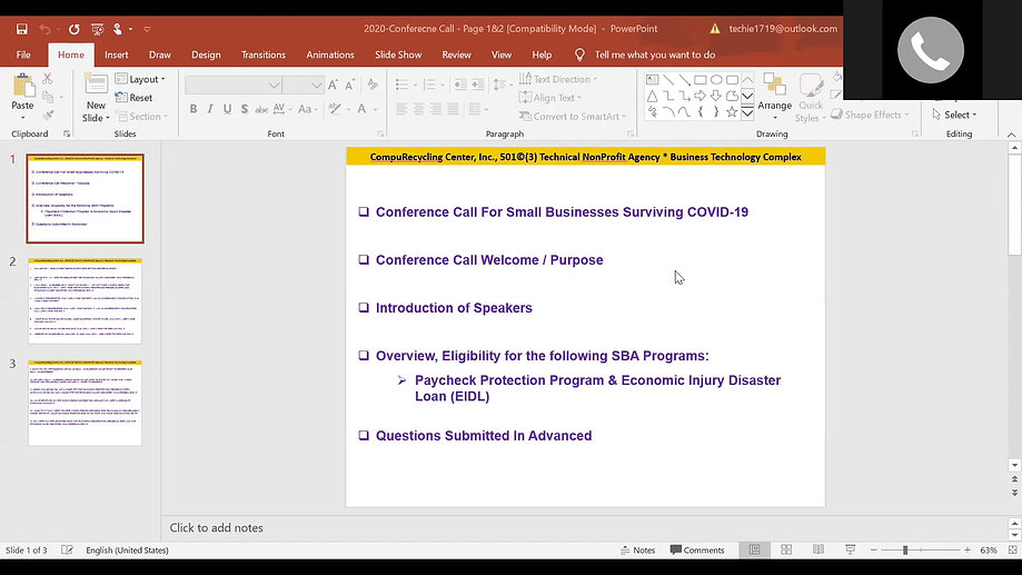 COVID-19 SMALL BUSINESS RELIEF & RESOURCES VIDEO CONFERENCE