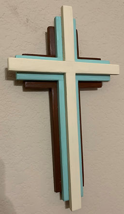 Dark Brown Turquois Cream Stacked Cross