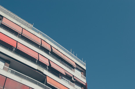 Building with Red Awnings