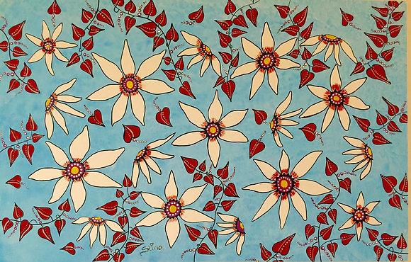 Blomster i turkos