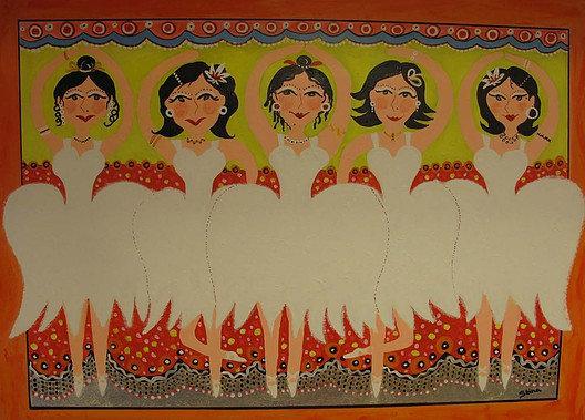 Fem ballerinor i gult
