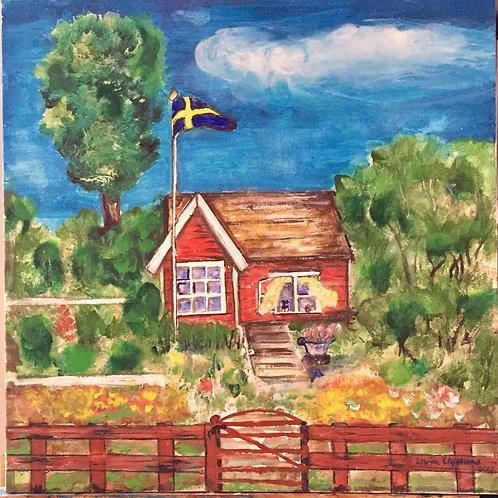 En röd liten kolonistuga av Karin Elgelund