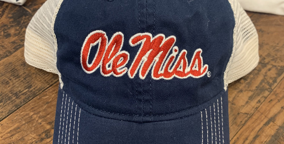 Navy Hat with Tan Mesh - Red Ole Miss