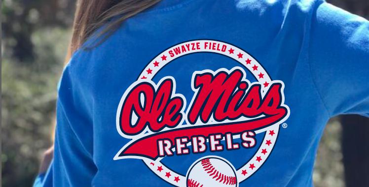 Ole Miss Baseball Circle Tee - Long Sleeve