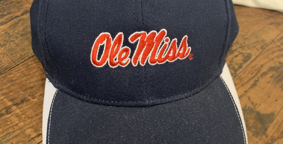 Navy White Sports Hat with Red Ole Miss