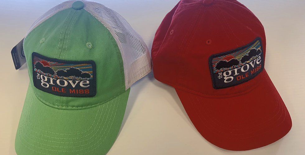 The Grove Hats - Lime Green with Mesh & Red Adjustable