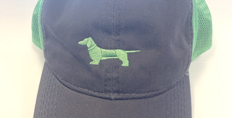 Stone Grey Hat with Lime Green Mesh with Lime Green Weenie