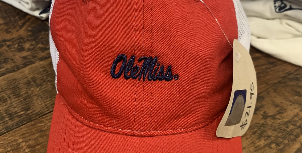 Red Hat with White Mesh - Navy Ole Miss