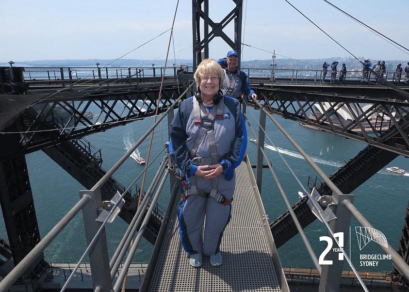 Image of Merrilyn Chadwick on top of Sydney Harbour Bridge