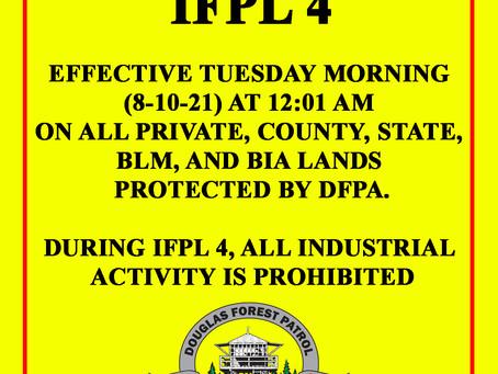 INDUSTRIL FIRE PRECAUTION LEVEL 4 - Effective 8-10-2021