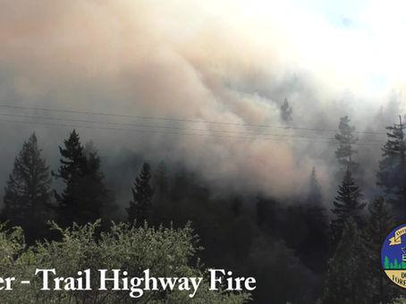 5-9-19:  Tiller Trail Hwy Fire & Union Gap Fire Evening Update