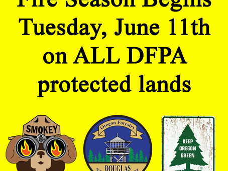 Fire Season Begins June 11th on DFPA Protected Land