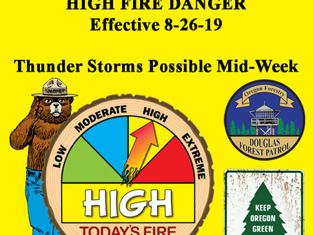 Fire Danger Increases - HIGH