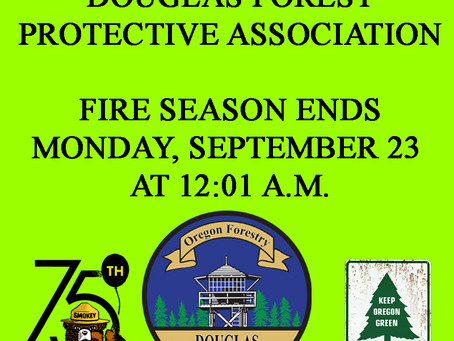 2019 FIRE SEASON END'S MONDAY, SEPTEMBER 23rd