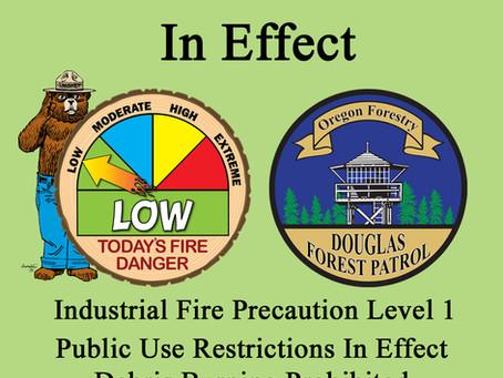 Rainfall Reduces Fire Danger – Fire Season Remains in Effect