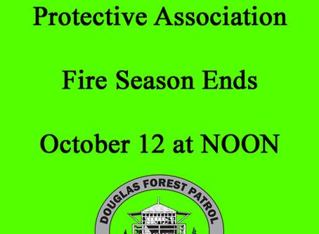 2020 FIRE SEASON ENDS MONDAY, OCTOBER 12TH