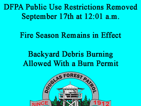 Public Fire Restrictions Rescinded - Fire Season Remains in Effect