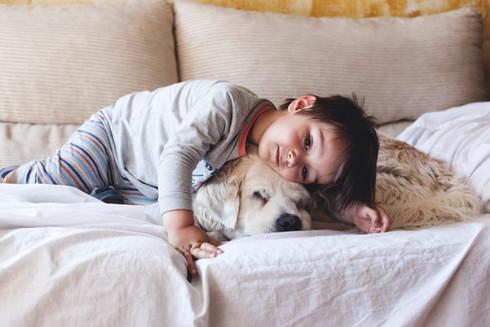Menino que afaga com seu cão