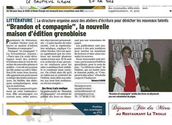 Brandon et compagnie, la nouvelle maison d'édition grenobloise Comment te dire adieu ? Isabelle Larpent-Chadeyron
