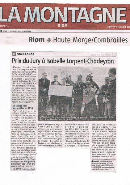 Prix du jury à Isabelle Larpent-Chadeyron