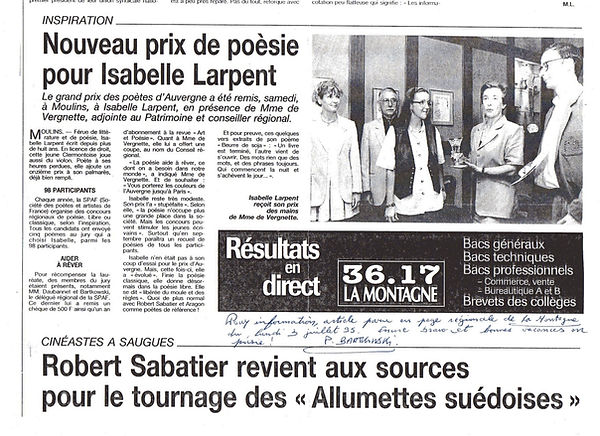 Nouveau prix de poésie pour Isabelle Larpent