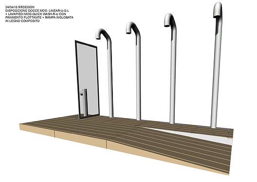 Docce per esterni ed interni Easy Shower - Disegno 3D per cliente Cervia - Milano Marittima