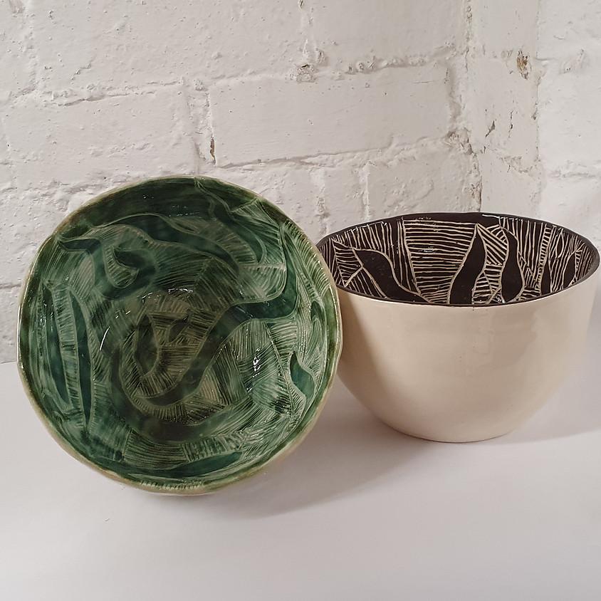 Sgraffito, Coloured Slip & Bowls