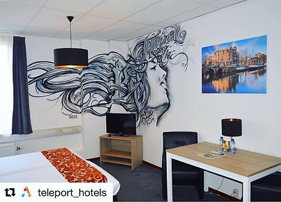 amsterdam, hotel room, graffiti, decorative, interior design, spray art, posca pens, teleport hotel, edmx, street, urban art