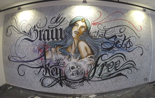 wall art, interior design, caligraphy, girl, pin up, letters, arte urbana, spray art, arte decorativa, pintura em parede, edmx, artista