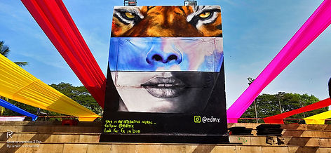 mood indigo, india, mumbai, edmx, interactive mural, interactive graffti, ar mural, agumented reality, spray art, street art, realism, arte interativa, mual interativo, we are all one, henrique montanari, henrique edmx montanari