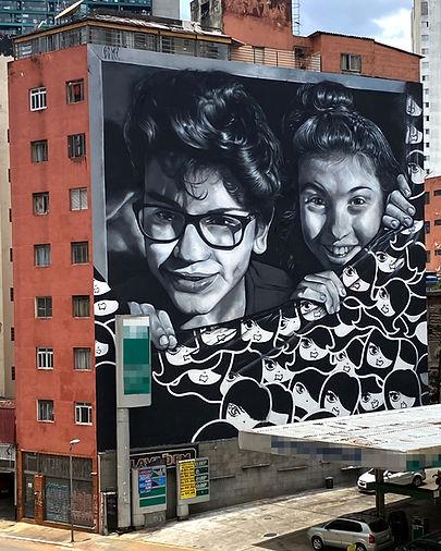 mural interativo, graffiti com realidade aumentada, emepna virtual, empena com realidade aumentada, são paulo, max e rosa, henrique edmx montanari, invasora, edmx, street art, empena, interactive art, interactive street art