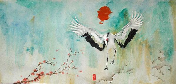 ilustração, capa de livro, book cover, illustration, watercolor, aquarela, tsuru, a espera de um milagre