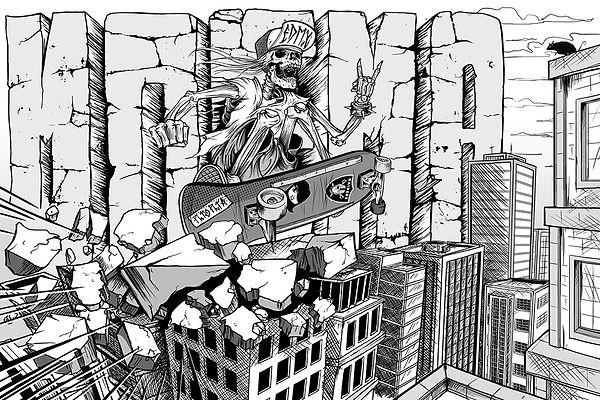 henrique montanari, illustration, ilustração, skull, zombie, skate, moema, são paulo, sp, edmx, entrelinhas urbanas, invasora, raiders, ilustracion, livro de arte, arte, fine arte, desenho, artes plásticas