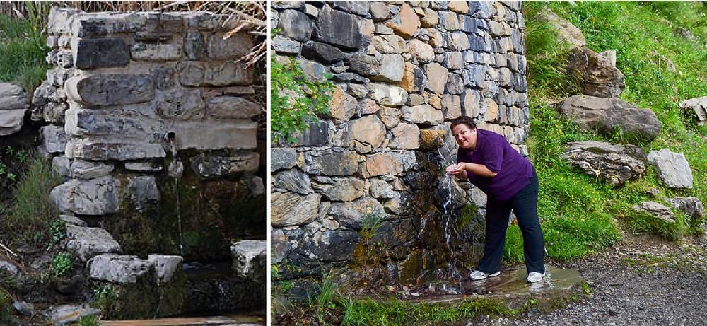 Fuente de agua en rutas de media montaña