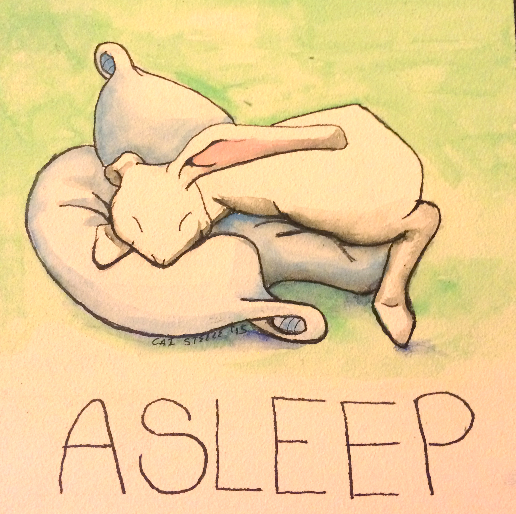 watercolor cartoon bunny sleeping on pillows with the text ASLEEP at the bottom