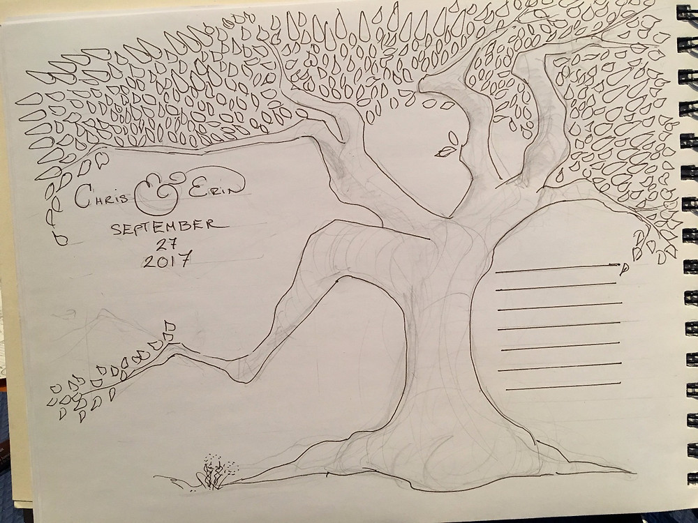 pen and ink tree abstract with names and a wedding date.