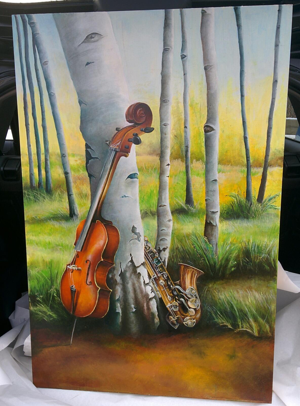 painting of a cello and a saxophone in a birch tree grove