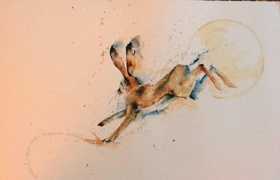 watercolor painting of a rabbit leaping from the moon.