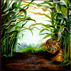 oil painting of a french horn in a cornfield.