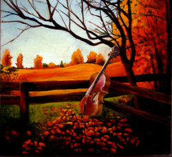 Painting of a fall landscape with a cello leaning against a fence