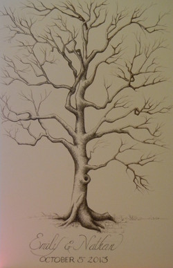 Pen and ink drawing of a bare tree with bride and groom names at the botton