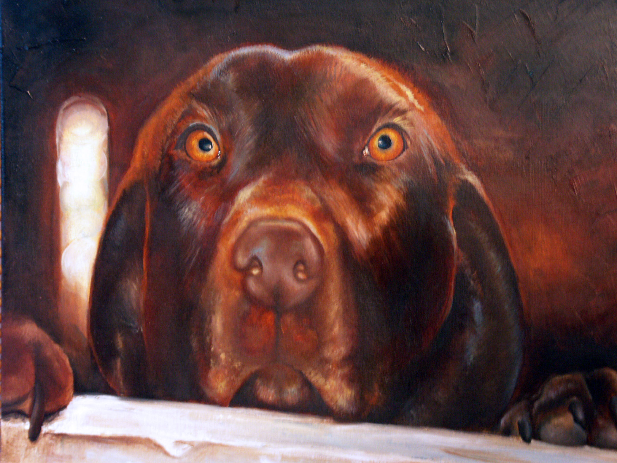 Oil Painting of Winston the Dog