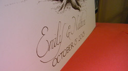 Up close image of bride and groom name at the bottom of the wedding tree guestbook in calligraphy sc