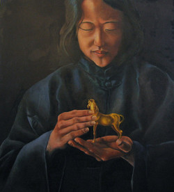 Painting of an Asian woman holding a golden horse