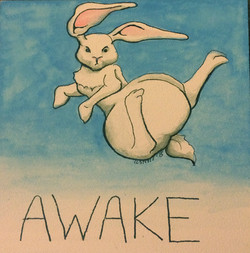 Watercolor painting of cartoon bunny jumping in the air with text AWAKE at the bottom
