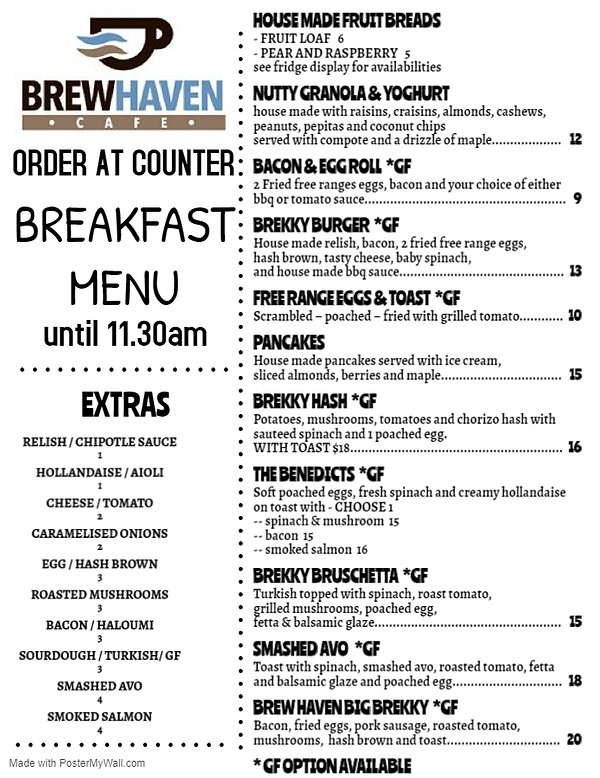 BREW HAVEN BREAKFAST MENU - Made with Po