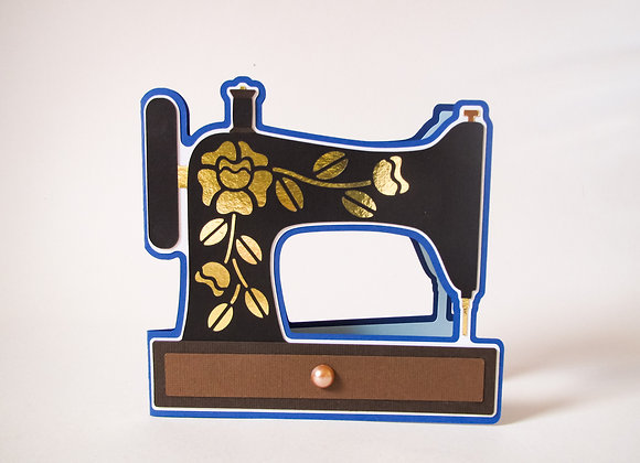 Vintage Sewing machine, handmade card, black and gold sewing machine.