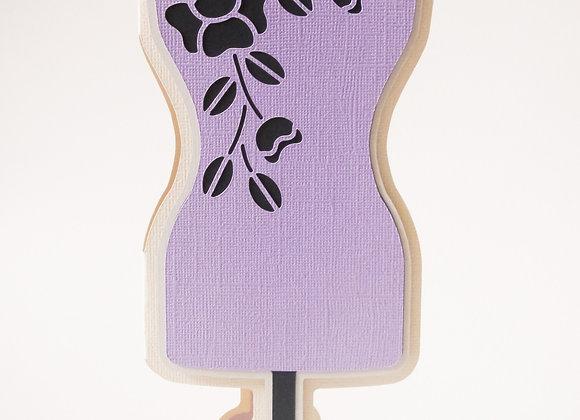 dressmakers mannequin card. vintage sewing. tailors dummy.